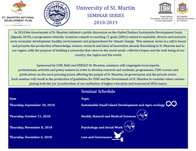 University of St. Martin Seminar Series on Sustainable Development Goals – (USM, BAK &UNESCO Partnership)